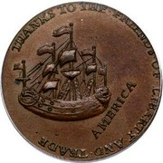 USA Halfpenny 1766 KM# Tn24 William Pitt tokens THANKS • TO • THE • FRIENDS • OF • LIBERTY • AND • TRADE • AMERICA coin reverse
