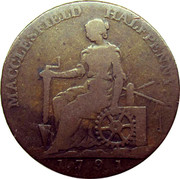 UK Halfpenny (Cheshire - Charles Roe Copper Works) MACCLESFIELD HALFPENNY coin reverse