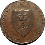 UK Halfpenny (Hampshire - Portsmouth / W. Taylor) PROMISSORY HALFPENNY 1791 coin reverse