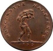 UK Halfpenny (Lancashire - Manchester / I. Fielding) MANCHESTER HALFPENNY 1793 coin obverse