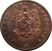 UK Halfpenny (Lancashire - Manchester / I. Fielding) SUCCESS TO NAVIGATION SIC DONEC coin reverse
