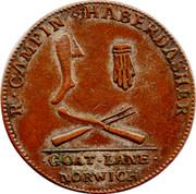 UK Halfpenny (Norfolk - Norwich / R. Campin) R . CAMPIN . HABERDASHER. . GOAT . LANE . NORWICH. coin obverse