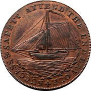 UK Halfpenny Sussex - Hastings 1794  SUCCESS & SAFETY ATTEND THE ENDEAVOUR coin obverse