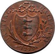 UK Halfpenny Sussex - Hastings 1794  HASTINGS HALFPENNY 1794 coin reverse