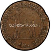 USA Higley Copper 1737 KM# Tn17 Higley or Granby coppers THE • VALVE • OF • THREE • PENCE coin obverse