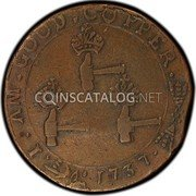 USA Higley Copper 1737 KM# Tn17 Higley or Granby coppers I . AM . GOOD . COPPER coin reverse