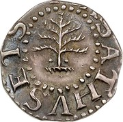 USA III Pence 1652 KM# 12 Pine Tree MASATHVSETS coin obverse