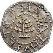 USA III Pence Pine Tree 1652 KM# 11 MASATHVSETS coin obverse