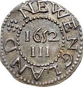 USA III Pence Pine Tree 1652 KM# 11 NEW ENGLAND III coin reverse