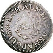 USA One Shilling Chalmers Shilling, Long Worm 1783 KM# Tn47.1 I. CHALMER, ANNAPOLIS. coin obverse