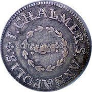 USA One Shilling 1783 KM# Tn47.2 John Chalmers I. CHALMER, ANNAPOLIS. coin obverse