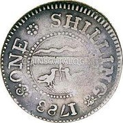USA One Shilling Chalmers Shilling, Long Worm 1783 KM# Tn47.1 ONE SHILLING coin reverse