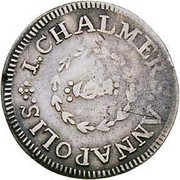 USA One Shilling Chalmers - Long Worm 1783 KM# Tn47.1 I. CHALMER, ANNAPOLIS. coin obverse