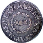 USA One Shilling Chalmers - Short Worm 1783 KM# Tn47.2 I. CHALMER, ANNAPOLIS. coin obverse