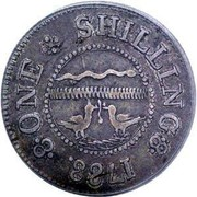 USA One Shilling Chalmers - Short Worm 1783 KM# Tn47.2 ONE SHILLING coin reverse