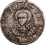 UK Penny Elizabeth I Pledge 1601 KM# PnA1 THE ∙ * ∙ PLEDGE * OF + ∙ ∙ + coin obverse