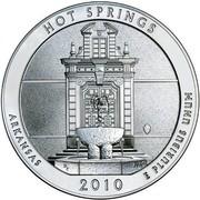 USA Quarter Dollar Hot Springs National Park 2010 P Vapor Blast finish KM# 489 HOT SPRINGS ARKANSAS 2010 E PLURIBUS UNUM coin reverse