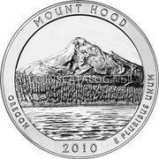 USA Quarter Dollar Mount Hood National Park 2010 KM# 493 MOUNT HOOD OREGON 2010 E PLURIBUS UNUM coin reverse