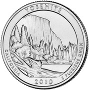 USA Quarter Dollar Yosemite National Park 2010 S KM# 471a YOSEMITE CALIFORNIA E PLURIBUS UNUM coin reverse