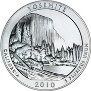 USA Quarter Dollar Yosemite National Park, CA 2010 KM# 491 YOSEMITE CALIFORNIA E PLURIBUS UNUM coin reverse
