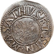 USA Shilling Willow Tree 1652 KM# 10 MASATHVSETS IN coin obverse