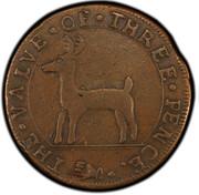 USA Three Pence Higley 1737 KM# Tn17 THE ∙ VALVE ∙ OF ∙ THREE ∙ PENCE coin obverse