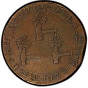 USA Three Pence Higley 1737 KM# Tn17 I . AM . GOOD . COPPER coin reverse