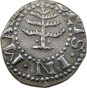 USA VI Pence 1652 KM# 14 Pine Tree ∙ MASATHVSETS ∙ IN ∙ coin obverse