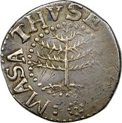 USA VI Pence 1652 KM# 13 Pine Tree MASATHVSETS IN coin obverse