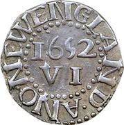 USA VI Pence 1652 KM# 14 Pine Tree ∙ ANO ∙ NEW ENGLAND ∙ VI coin reverse