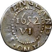 USA VI Pence 1652 KM# 13 Pine Tree ∙ ANO ∙ NEW ENGLAND ∙ XI coin reverse