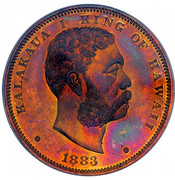 USA 1 D 1883 Proof KM# 7a Hawaii KALAKAUA I KING OF HAWAII coin obverse