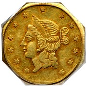 USA 1 Dollar California Liberty (Octagonal) 1855 KM# 13.3 - coin obverse