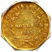 USA 1 Dollar California Liberty (Octagonal) 1855 KM# 13.3 CALIFORNIA GOLD N R 1 DOLLAR *YEAR* coin reverse