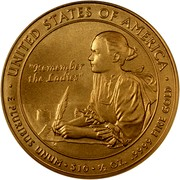 "USA $10 Abigail Adams 2007 W KM# 408 ∙ UNITED STATES OF AMERICA ∙ E PLURIBUS UNUM ∙ $10 ∙ 1/2 OZ. .9999 FINE GOLD ""REMEMBER THE LADIES"" coin reverse"