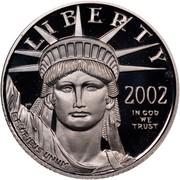 USA $10 American Eagle 2002 W Proof KM# 339 LIBERTY 2002 IN GOD WE TRUST E PLURIBUS UNUM coin obverse