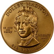 USA $10 Dolley Madison 2007 W KM# 410 DOLLEY MADISON LIBERTY 2007 W 4th 1809 - 1817 IN GOD WE TRUST coin obverse