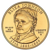 USA $10 Eliza Johnson 2011 W KM# 509 ELIZA JOHNSON LIBERTY 2001 W 17th 1865 - 1869 IN GOD WE TRUST coin obverse