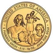 USA $10 Eliza Johnson 2011 W KM# 509 ∙ UNITED STATES OF AMERICA ∙ E PLURIBUS UNUM ∙ $10 ∙ 1/2 OZ. .9999 FINE GOLD coin reverse