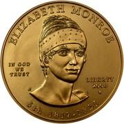 USA $10 Elizabeth Monroe 2008 W KM# 430 ELISABETH MONROE LIBERTY 2008 W 5th 1817 - 1825 IN GOD WE TRUST coin obverse