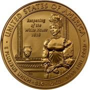 USA $10 Elizabeth Monroe 2008 W KM# 430 ∙ UNITED STATES OF AMERICA ∙ E PLURIBUS UNUM ∙ $10 ∙ 1/2 OZ. .9999 FINE GOLD REOPENING OF THE WHITE HOUSE 1818 coin reverse