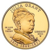USA $10 Julia Grant 2011 W KM# 510 JULIA GRANT LIBERTY 2011 W 18th 1869 - 1877 IN GOD WE TRUST coin obverse