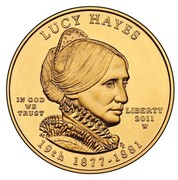 USA $10 Lucy Hayes 2011 W KM# 511 LUCY HAYES LIBERTY 2011 W 19th 1877 - 1881 IN GOD WE TRUST coin obverse