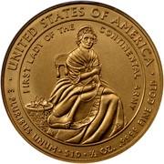 USA $10 Martha Washington 2007 W KM# 407 ∙ UNITED STATES OF AMERICA ∙ E PLURIBUS UNUM ∙ $10 ∙ 1/2 OZ. .9999 FINE GOLD FIRST LADY OF THE CONTINENTAL ARMY coin reverse