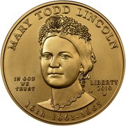 USA $10 Mary Todd Lincoln 2010 W KM# 484 MARY TODD LINCOLN 16th 1861 - 1865 IN GOD WE TRUST LIBERTY 2010 W PH coin obverse