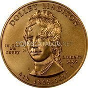 USA $10 Ten dollars (Eagle) Dolley Madison; Bullion Coinage 2007 W KM# 410 DOLLEY MADISON LIBERTY 2007 W 4th 1809 - 1817 IN GOD WE TRUST coin obverse