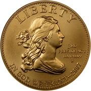 USA $10 Thomas Jefferson's Liberty 2007 W KM# 409 LIBERTY 3RD PRESIDENCY 1801-1809 W IN GOD WE TRUST coin obverse