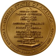 USA $10 Thomas Jefferson's Liberty 2007 W KM# 409 ∙ UNITED STATES OF AMERICA ∙ E PLURIBUS UNUM ∙ $10 ∙ 1/2 OZ. .9999 FINE GOLD HERE WAS BURIED THOMAS JEFFERSON AUTHOR OF THE DECLARATION OF AMERICAN INDEPENDENCE OF THE STATUE OF VIRGINIA FOR RELIGIOUS FREEDOM AND FATHER OF THE UNIVERSITY OF VIRGINIA BORN APRIL 2,1748, O.S. DIED JULY 4,1826 coin reverse