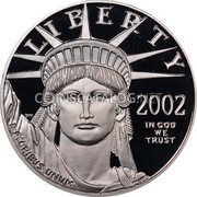 USA $100 One hundred Dollars Platinum American Eagle 2002 W Proof KM# 342 LIBERTY 2002 IN GOD WE TRUST E PLURIBUS UNUM coin obverse