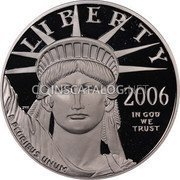 USA $100 One hundred Dollars Platinum American Eagle 2006 W Proof KM# 392 LIBERTY 2006 IN GOD WE TRUST E PLURIBUS UNUM coin obverse